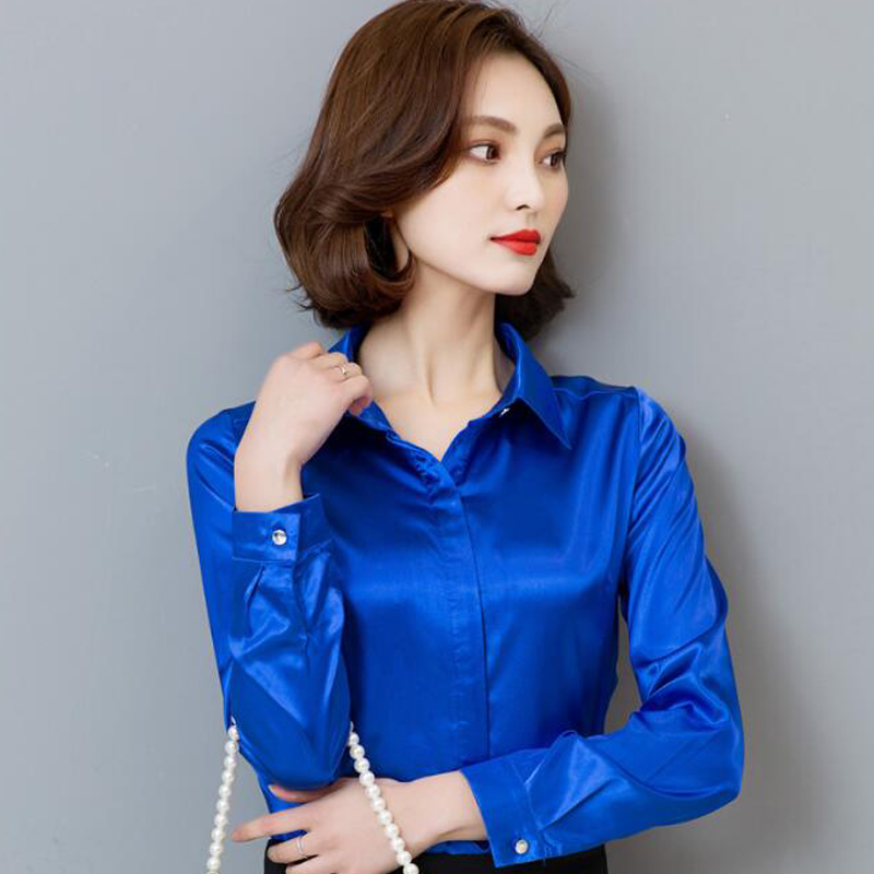 757342b1bf8ea4 New Peacock Blue Satin Shirt Women Long Sleeve Silk Blouses Women Work Wear  Uniform Office Shirt Simple Blouse Tops S 3XL-in Blouses & Shirts from  Women's ...