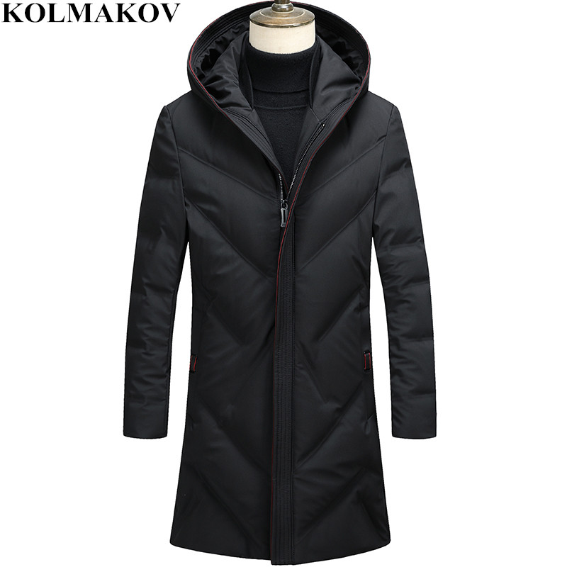 KOLMAKOV Men's Clothing 2018 New Fashion Long Mens 80% White Duck   Down     Coats   and Jackets Slim Outwear Mans Winter Thicken   Coats