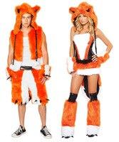 Free Drop Shipping Adult Sexy Fox Costume For Men Women Halloween Animal Theme Fantasia Fancy Dress