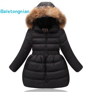 Jackets White-Duck-Down Girl Thick Winter Children's Outerwear Hooded Warm Fashion