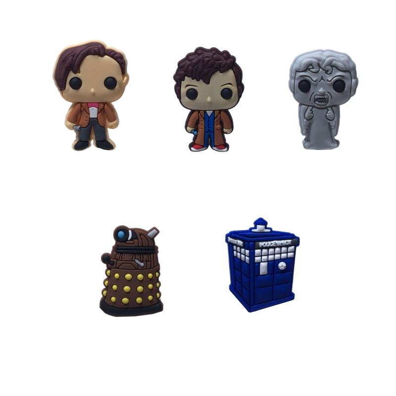Single Sale 1pc DOCTOR WHO PVC Shoe Charms,Shoe Buckles Accessories Fit Bands Bracelets Croc JIBZ,Kids Party X-mas Gift