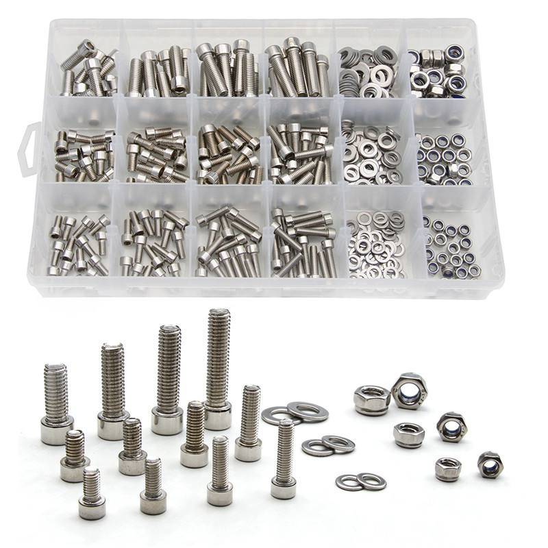 345PCS M5 M6 M8 Stainless Steel Column Hexagon Head Cylinder Screw Locknut Nut Bolt Washer Assortment