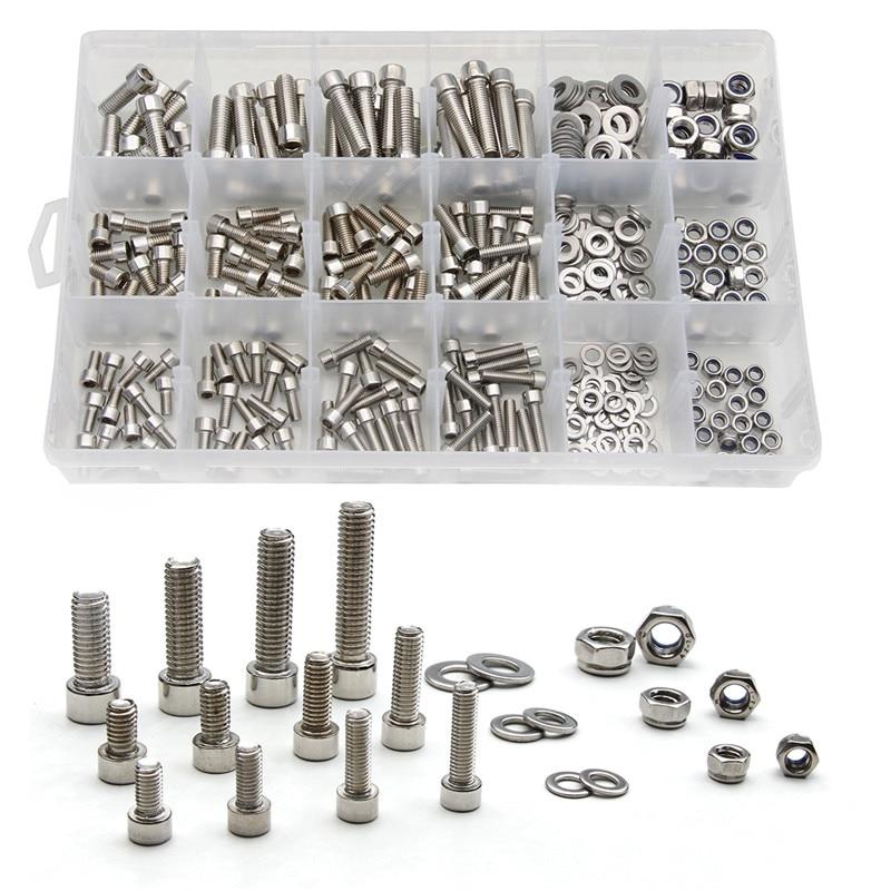 345PCS M5/M6/M8 Stainless Steel Column Hexagon Head Cylinder Screw Locknut Nut Bolt Washer Assortment Kit