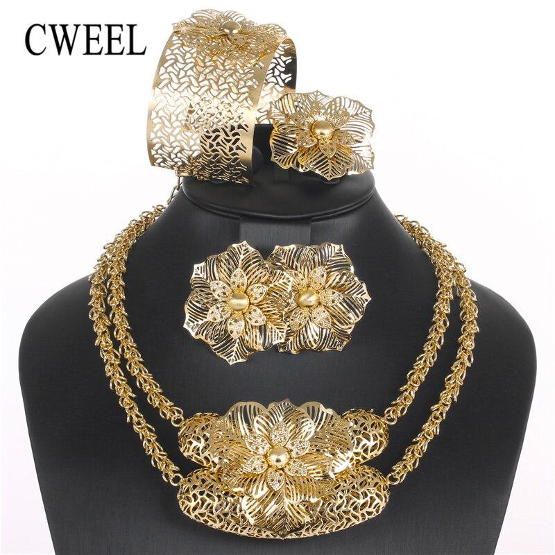 CWEEL Fashion Jewelry Sets African Beads Jewelry Set Flower Chain Dubai Turkish Ethiopian Nigerian Wedding Bridal