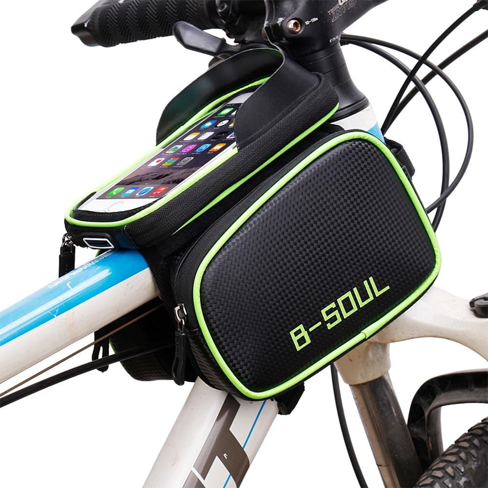 B-SOUL Tubo Della Bicicletta Del Sacchetto Della Bici Telaio Pannier Ciclismo Pouch con Rimovibile Touchscreen 5.8 ''6.2'' Supporto Del Telefono Mobile caso