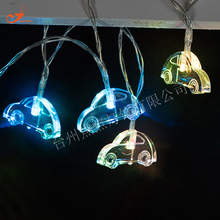 2017 Creative 10 LED String Lights Cute Little Car Colorful Amber Bulb Kids Toys PVC Wire Battery Operated Living Room Decor