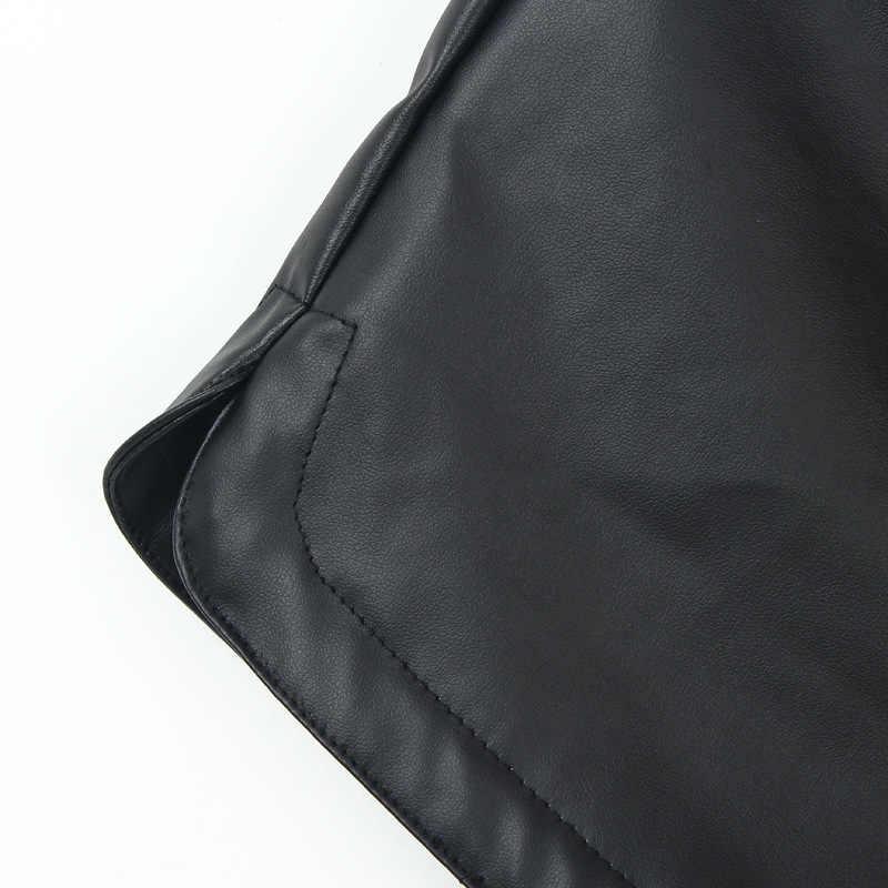 Danjeaner 2017 jesień zima kobiety na co dzień czarny Pu skórzane spodenki damskie elastyczny pas spodenki kobiet szczupła krótkie Mujer