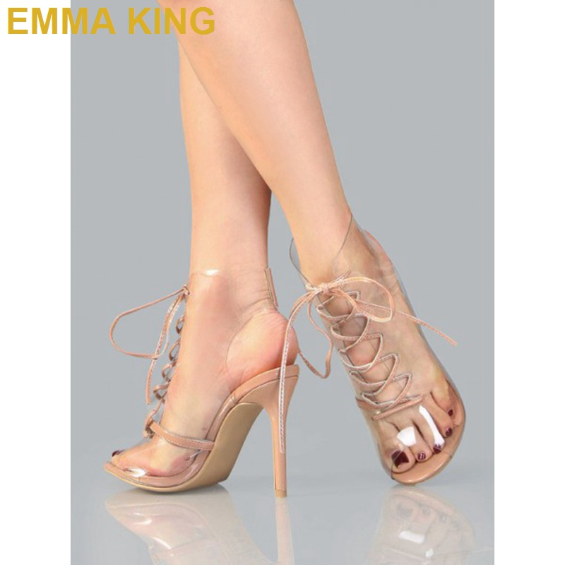 Trendy PVC Lace up Sandals Boots Peep Toe Stiletto Heels Women Sandals Thin High Heeled Sexy Pumps Short Summer Booties Shoes - 2
