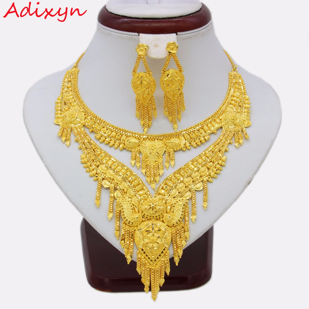 Adixyn 2018 Arab Dubai Party Necklace Earrings Jewelry set Gold Color Copper African Gifts Bride Wedding