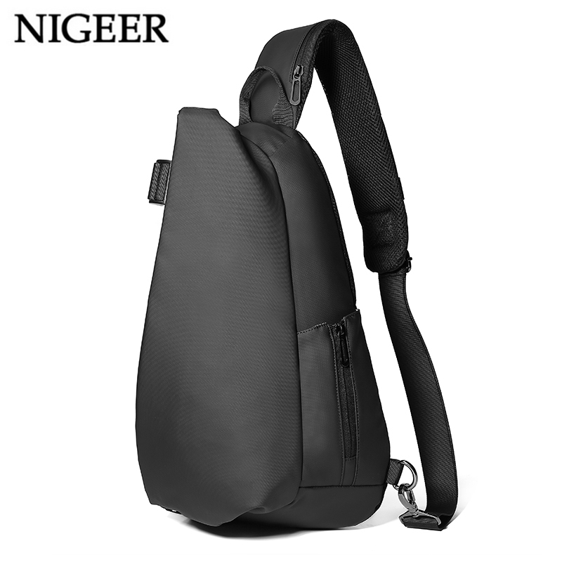 NIGEER Men Chest Bag Casual Shoulder & Crossbody Bags W/ USB Charging Messenger Bag Water Repellent Travel Chest Pack Male n1850 luxury genuine leather usb charging crossbody bags for men messenger chest bag pack casual vintage travel school shoulder bags