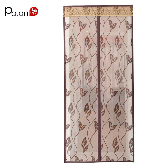 Hot Sale Magnetic Mosquito Curtain Encryption Flocking Leaves Printing Mosquito Net Muliti-color Insecticide Treated Home Use