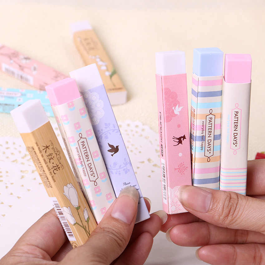 Stationery Supplies Kawaii Cartoon Pencil Erasers for Office School Kids Prize Writing Drawing 1PC