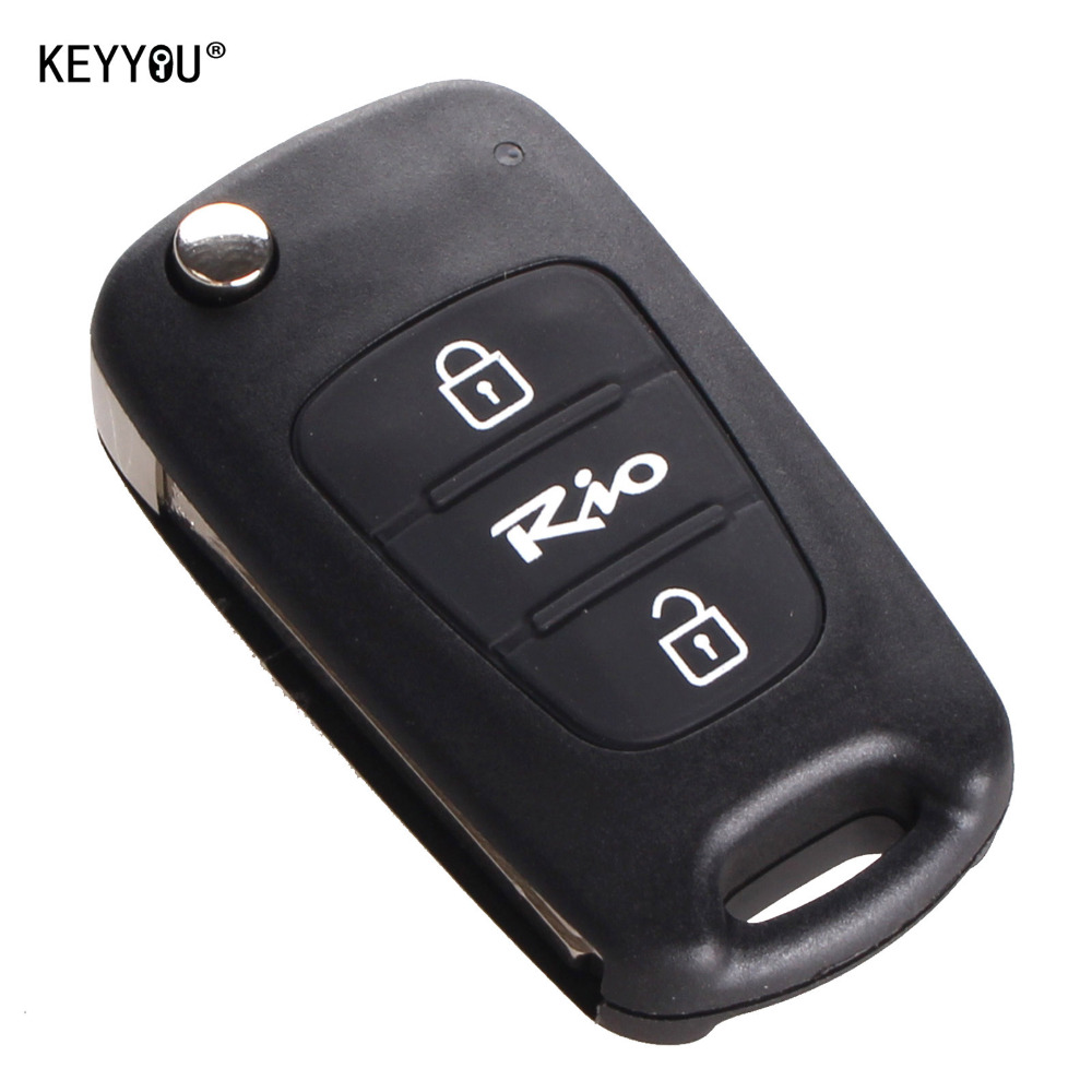 KEYYOU Car Style 3 Buttons Car Replacement Flip Folding Key Shell Blank Remote Fob Case For Kia Rio Free Shipping With KIA LOGO keyyou remote key case shell for peugeot 407 407 307 308 607 key cover 3 buttons flip key case with car symbol with logo