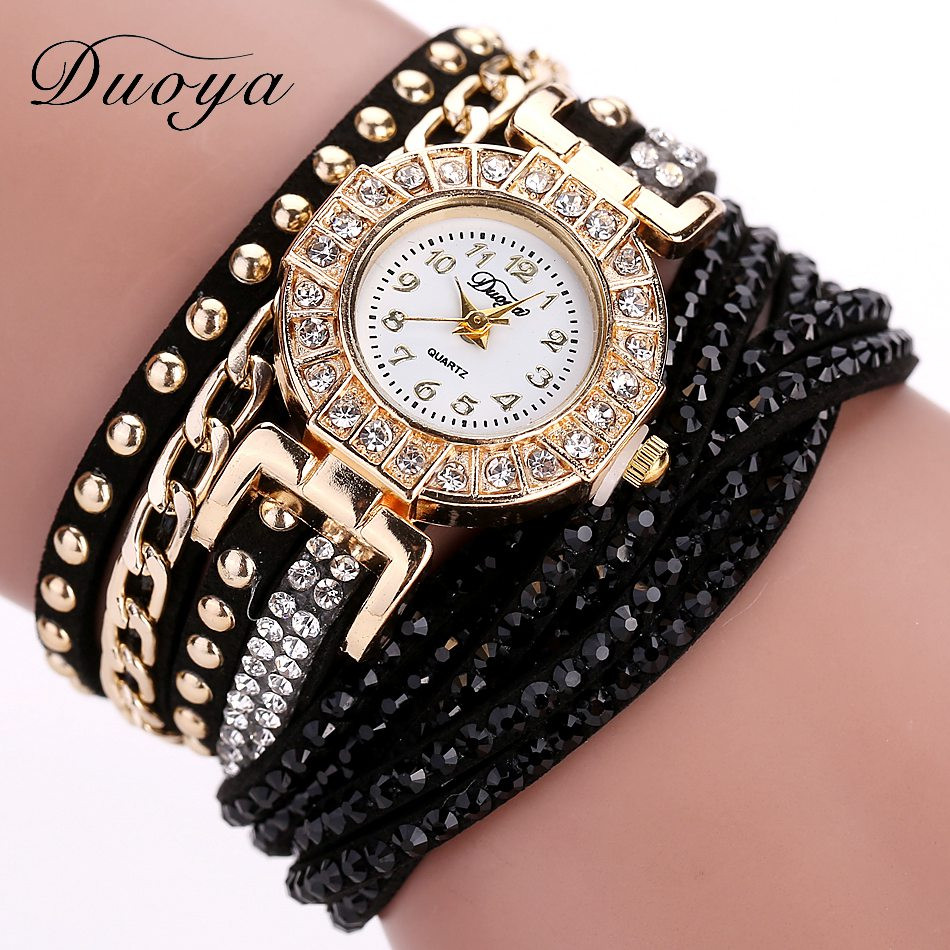 Charm Bracelet Watches: Duoya Luxury Brand Quartz Watch Women Gold Crystal