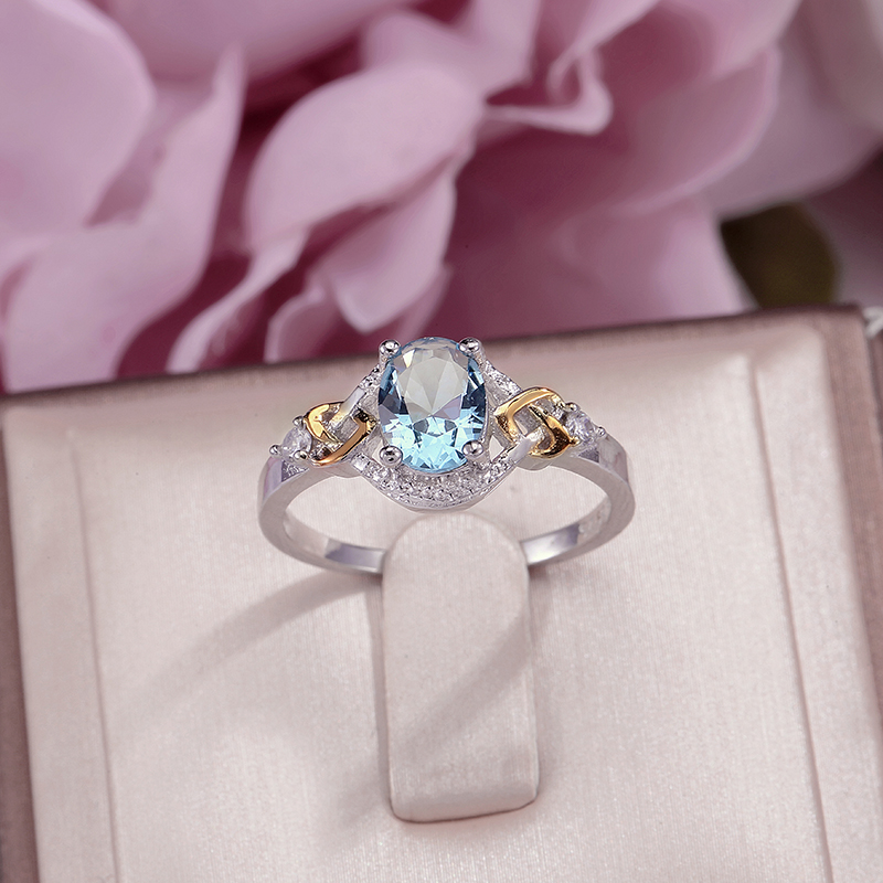 Fine Jewelry Wedding Rings For Women Sterling Silver 925 Cubic Zirconia Blue Oval Stone Engagement Ring Anillos Mujer Party Gift