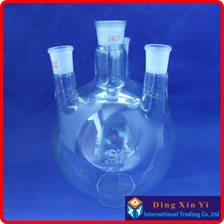 2000ml 24/29 four necks round-bottom flask,Flask round bottom with four necks,short neck standard ground mouth