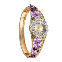 Sizzling Sale Vogue Watches Girls Gold Plated Diamond Flower Lace Shining sports activities Women costume watches Wristwatches