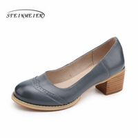 Women Genuine Leather Shoes Handmade 5cm Thick Heel Grey Blue Black Oxford Round Toe Pumps 2018
