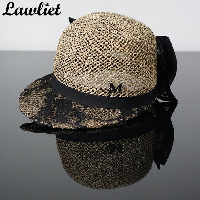 Topi musim panas untuk Wanita Fashion Busur Besar Rumput Laut Visor Topi  Matahari Perlindungan Topi Jerami f9a80ede98