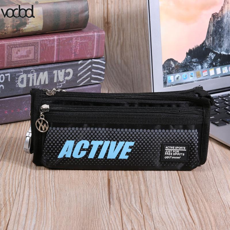 VODOOL Multi Layer Big Capacity Pencil Case Zipper Students Canvas Pen Bag Pencil Bag Stationery Storage Organizer Pencil Box big capacity high quality canvas shark double layers pen pencil holder makeup case bag for school student with combination coded lock
