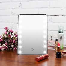 Portable Touch Screen Cosmetic Mirror 16 LED Lights Makeup Mirror With Light Lamp  Beauty Desktop Vanity Table Stand Mirrors недорого