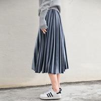 Women Long Metallic Silver Maxi Pleated Skirt Midi Skirt High Waist Elascity Casual Party Skirt