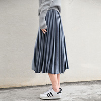 Women Long Metallic Silver Maxi Pleated Skirt Midi Skirt High Waist Elascity Casual Party Skirt