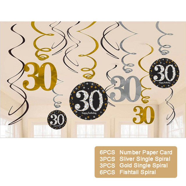 12PCS 18/30/40/50/60 Year Olds Plastic Spiral Ornaments Latex Sequin Balloon Party Decorations