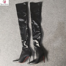 Over-Knee-Boots Black Shoes High-Heels Big-Size Intention Women New-Fashion Original