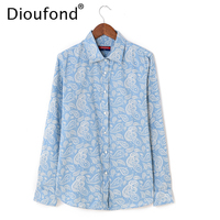 Dioufond Denim Shirts Women Blouses Pesley Print Thin Cotton Blouse Long Sleeve Slim Tops Blusas Camisa Jeans Shirts Casual Out