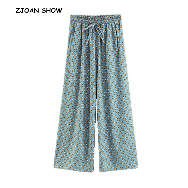 Vintage Contrast Geometric Dot Print   Wide     Leg     Pants   Holiday 2018 Woman Lacing Up Elastic High Waist Long Loose Casual Trousers