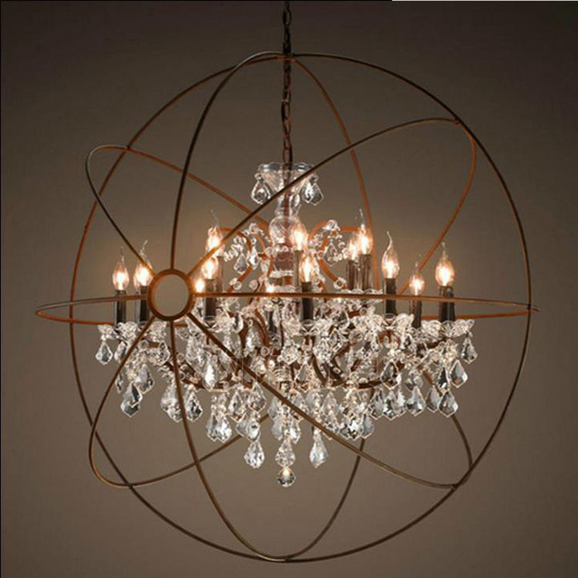 Vintage Orbital K9 Crystal Chandelier Lamp DIY American Home Deco Living  Room Retro Rust Iron Luxury