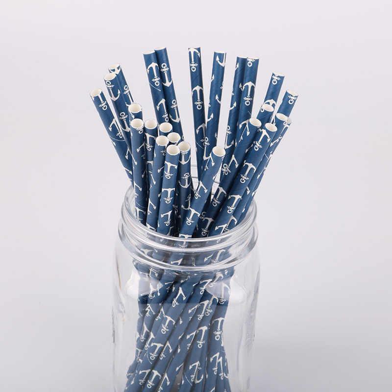25 шт. темно-синий с якорями бумага соломинки для нулевой День рождения Дети День Рождения украшения поставки одноразовые бумага питьевой соломинки