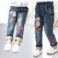The New Spring 2017 Girls Rabbit Mushroom Embroidery Jeans Holding Edge Pants