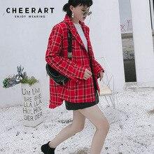 858e51ec4f9 Cheerart Vintage Plaid Red Blazer Women Patch Tweed Blazer Coat Jacket High  Fashion Plus Size Casual