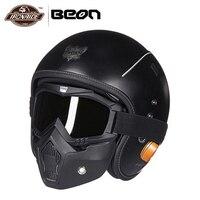 BEON мотоциклетный шлем Ретро Винтаж немецкий стиль 3/4 открытый уход за кожей лица шлем для скутера Chopper Cruiser Байкер Мото очки маска