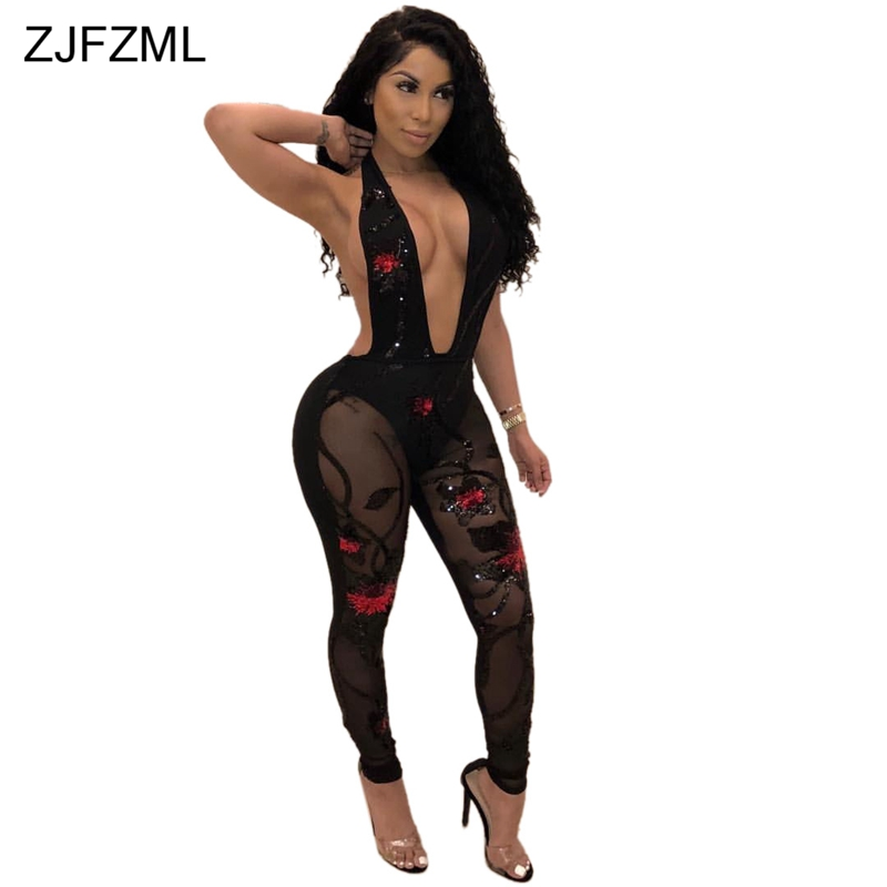 ZJFZML Floral Sequined Sexy Bodycon Jumspuits Women 2018 Deep V Neck Sleeveless See Through Romper Mesh Backless Party Playsuits