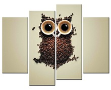 Hot No Frames 4 Panel Image Coffee Bean Decorative Owl HD Canvas Print Painting Artwork Wall Art WholesaleXJDC12-108