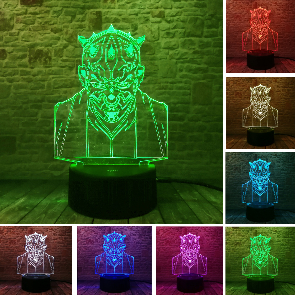 New 3D Star Wars Jedi Knight Visual Led 7 Color Gradient Sleeping Nightlight USB Touch Table Illusion Mood Fans Child Xmas Gifts
