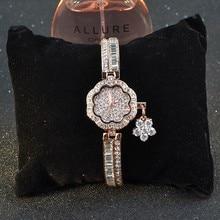 Luxueux Blingbling CZ Zircon Bracelet Montre Romantique Floral Forme Femmes Robe Montres Fleur Gland Relogios Montre Femme W144