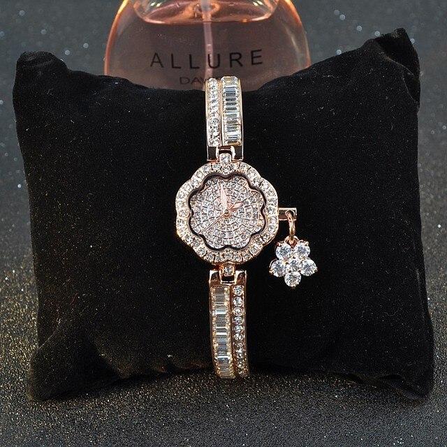 Luxurious Blingbling CZ Zircon Bracelet Watch Romantic Floral Shape Women Dress