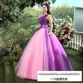 Free-Shipping Hot Sale Fresh Purple Vintage Gowns Ball Gown