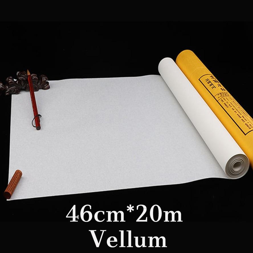 46 cm * 20 m blanc chinois riz papier rouleau peinture calligraphie Xuan papier peinture approvisionnement