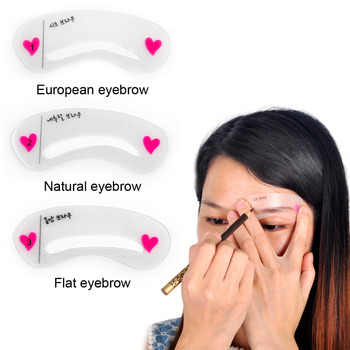 100 3Pcs/set Eyebrow Stencils 3types Reusable Eyebrow Drawing Guide Card Brow Template DIY Make Up Tools hot sell free shipping