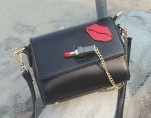 Red lipstick red chain buckle single shoulder diagonal bag, lady 17 fashion spring and summer new adorable small bag