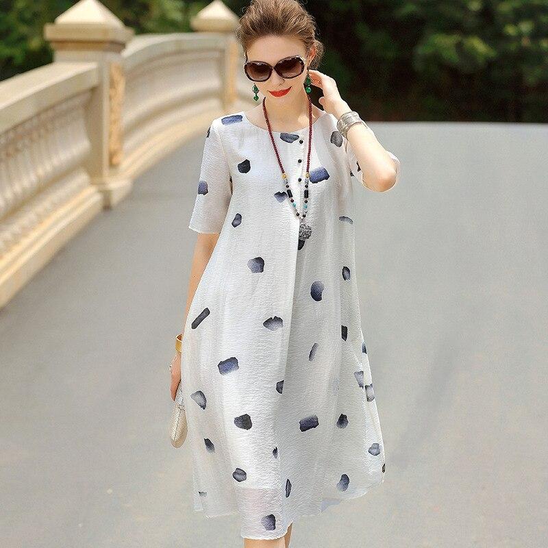 Femme Blanc Impression D'été Les Grande Pour Taille Robes 2019 Blanches Linge Marque Lâche Robe Casuais Longue Femmes aC6w6qHc