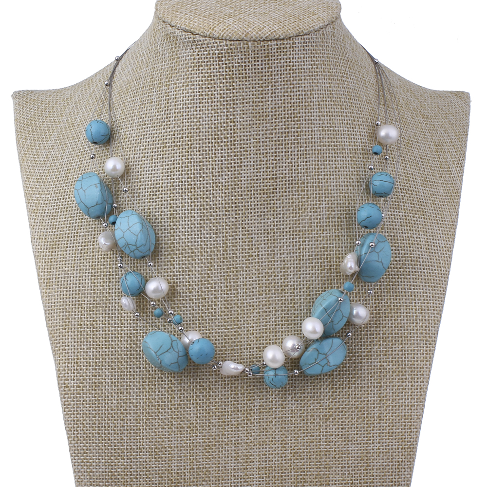 YYW New Fashion Natural Freshwater Pearl Necklace Jewelry Blue Stone White Pearl Beads Multilayer Choker Sweater Chain Necklace недорго, оригинальная цена