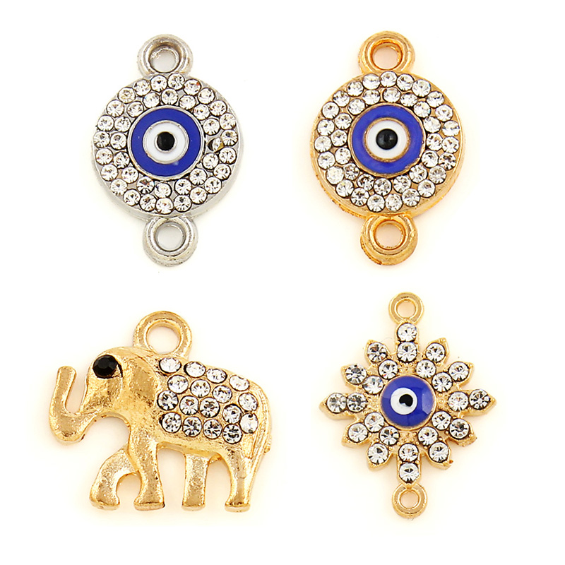 30pcs/lot Silver Gold Color Alloy Crystal Rhinestone Round Eye Sun Elephant Connecter Charms For Bracelets DIY Jewelry Making