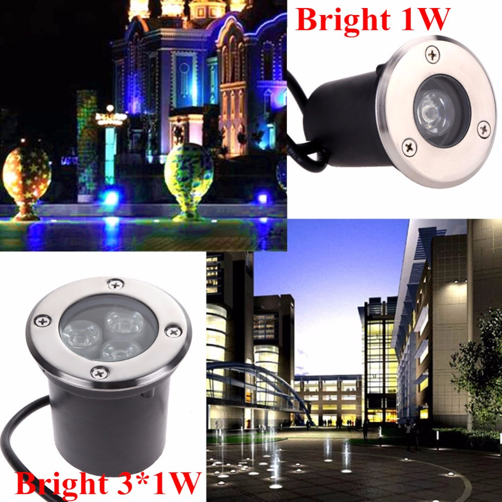 12V 110V 220V LED Underground Light 1W 3W Inbyggd lampa Vattentät Utomhusbelysning Garden Begravd Yard Landskap Inground Light