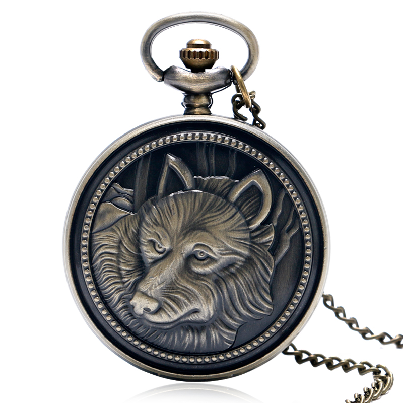 Cool Retro Bronze Wolf Pattern Design Theme Fob Pocket Watch With Necklace Chain Best Gift Men Women